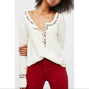 FREE PEOPLE Rainbow White Thermal Knit Embroidery